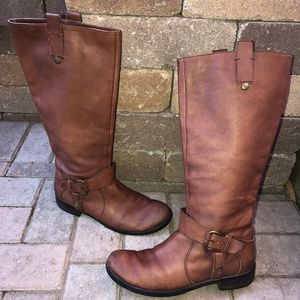 Nine West Take Down cognac leather riding boots
